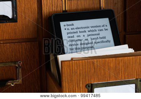 E-book Reader Showing The E-book Dictionary Entry  In A Library