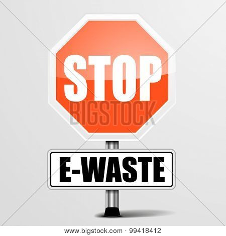 detailed illustration of a red stop E-Waste sign, eps10 vector
