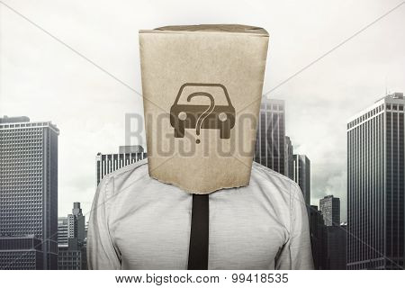 Buy A Car Concept On Brown Paper Bag Which Businessman Has On Head