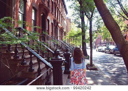 Girl Walk At The Greenwich Village