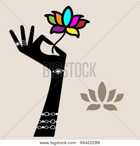 Hand holding lotus flower (jewelery hand flower all separate elements)