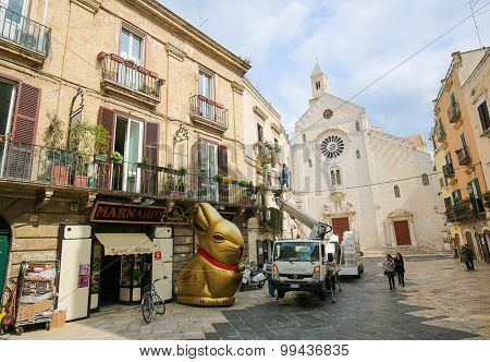 View On The Center Of Bari, Italy, With Bari Cathedral