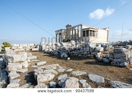 Erechtheum temple ruins at Acropolis, Athens, Greece