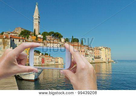 Taking  Picture Of The Rovinj (croatia)