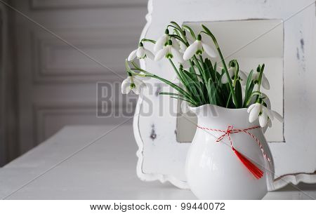 Snowdrops and Spring Red White Symbol In Front Of Vintage Frame