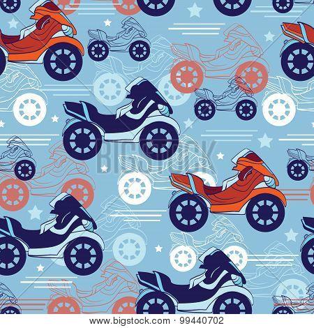Vector Motorcycles Blue Red Seamless Pattern. Fast Risky Speed. Motorbike Bike, Loud