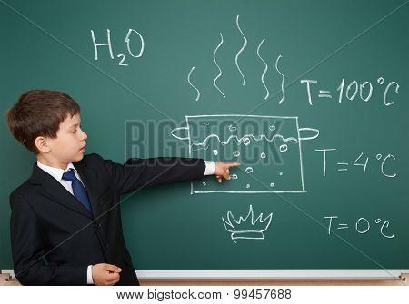 school boy show physical phenomenon hot water boil poster