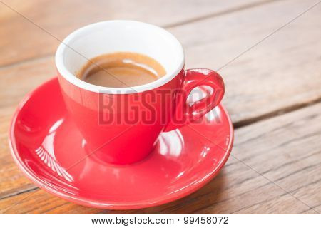 Hot Coffee Cup On Wooden Table