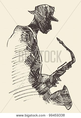 Jazz poster saxophone music acoustic consept