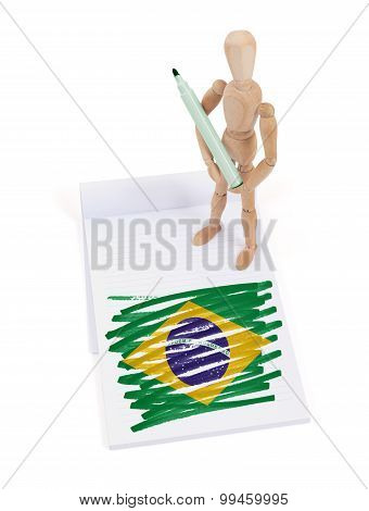 Wooden mannequin made a drawing of a flag - Brazil poster