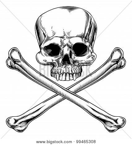 Skull and crossbones illustration in a vintage woodcut style poster