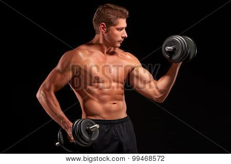 Shirtless young powerful muscular sportsman pumping biceps muscles with dumbbells. Looking at barbell. Isolated on black background. Dressed in black shorts. Half-length portrait poster