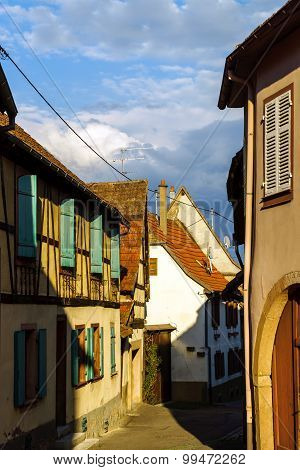 Street View Of Old Tradicional Alsacien Village