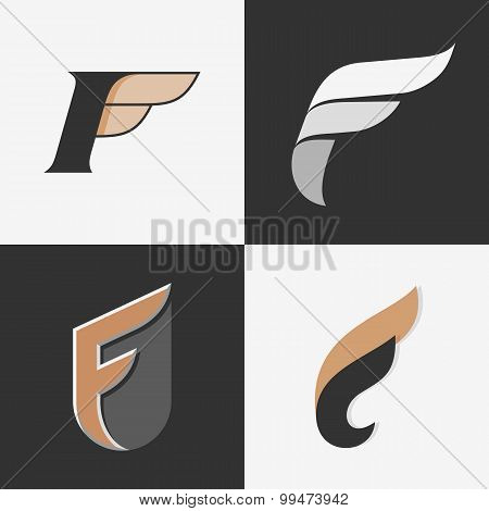 The set of letters F signs.