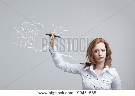 Young woman drawing schematic representation of the water cycle in nature poster