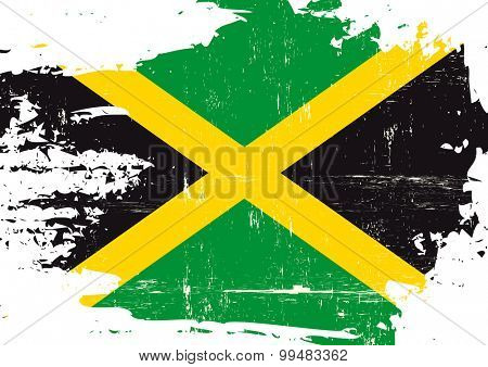 Scratched Jamaican Flag. A Jamaican flag with a grunge texture
