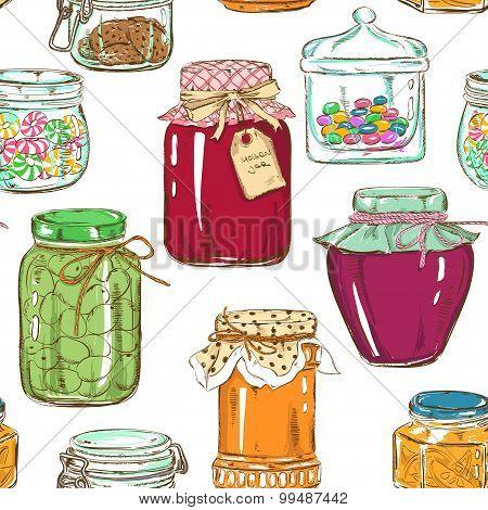 Colorful Seamless Pattern Of Mason Jars.