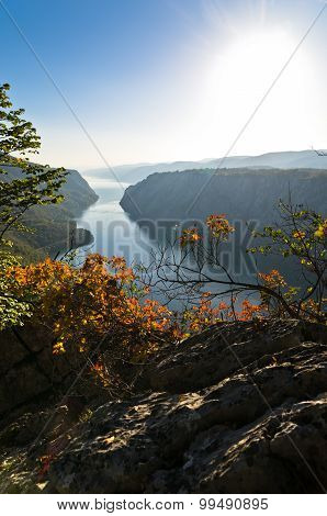View from the top of the cliffs of Djerdap gorge to river Danube, Miroc Mountain, Djerdap national park, Serbia poster