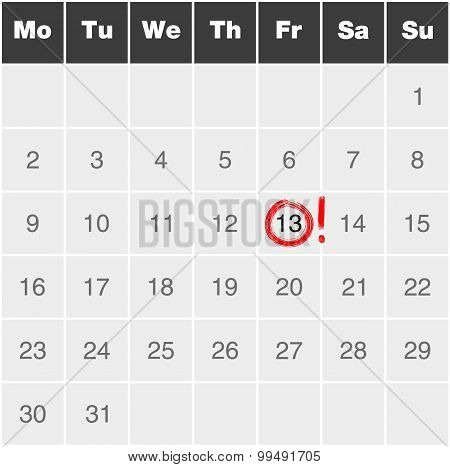 Month Calendar Monday To Sunday With Red Marked Friday 13Th