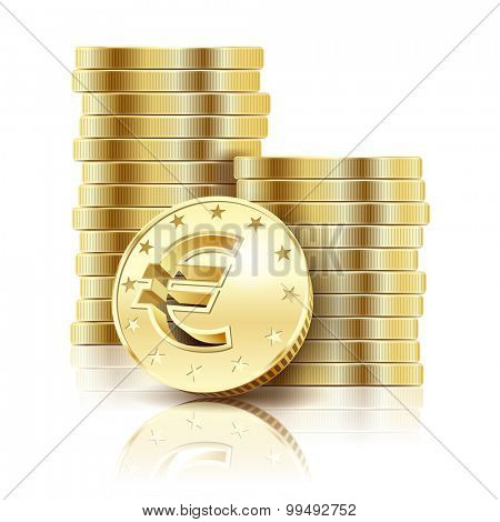 Golden Euro coins isolated on a white background. Illustration Vector EPS10.