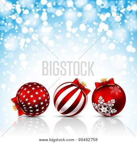 Three Red Christmas Balls on holiday background. Vector illustration.