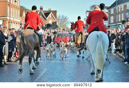 Tenterden, England - Dec 26th 2014: Annual Fox hunt meet on High street