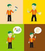 Set of cute cartoon young businessmen. Idea concept and finance report graph. Vector flat design poster