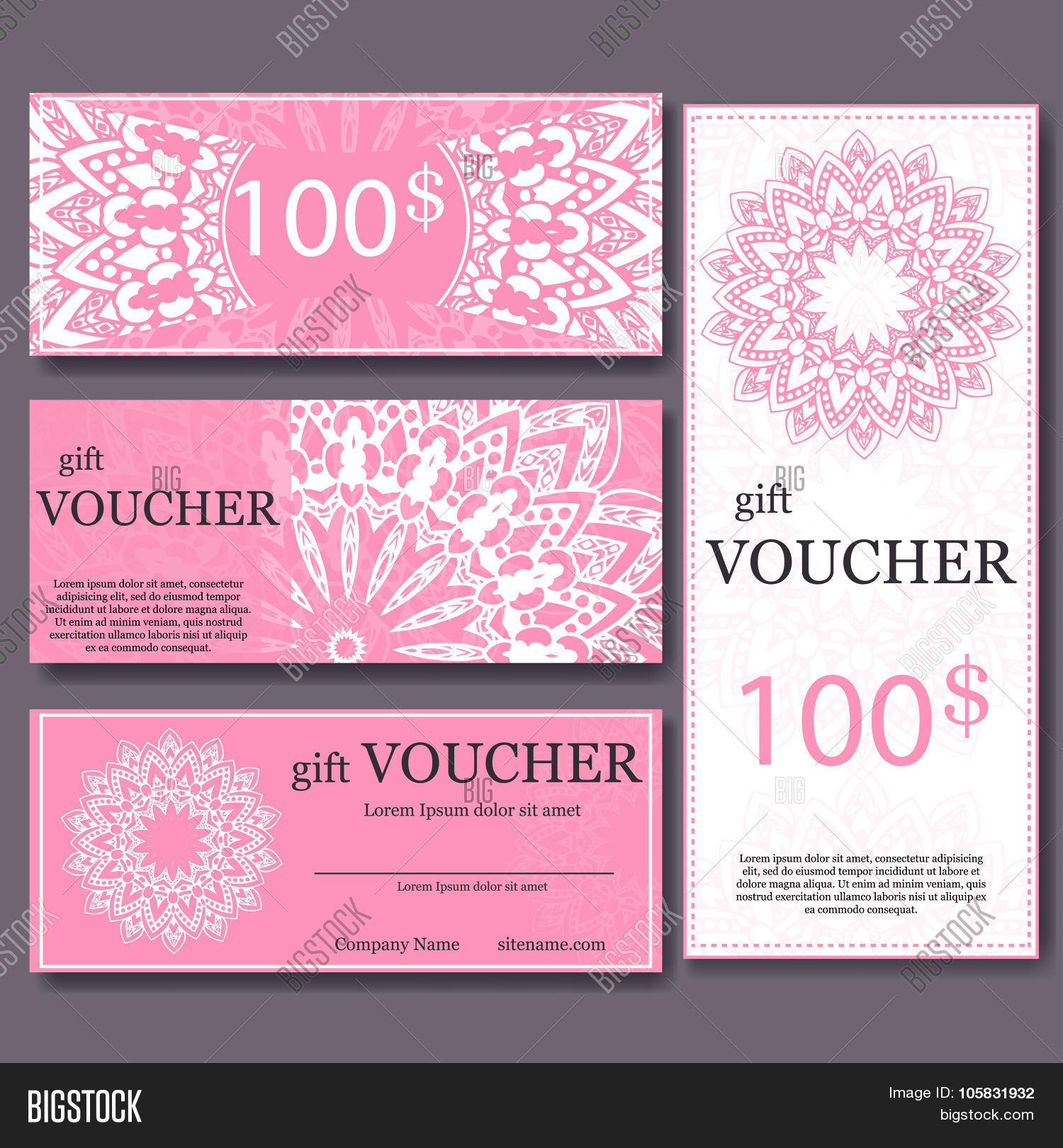 Gift voucher template mandala vector photo bigstock gift voucher template with mandala design certificate for sport center magazine or etc alramifo Images