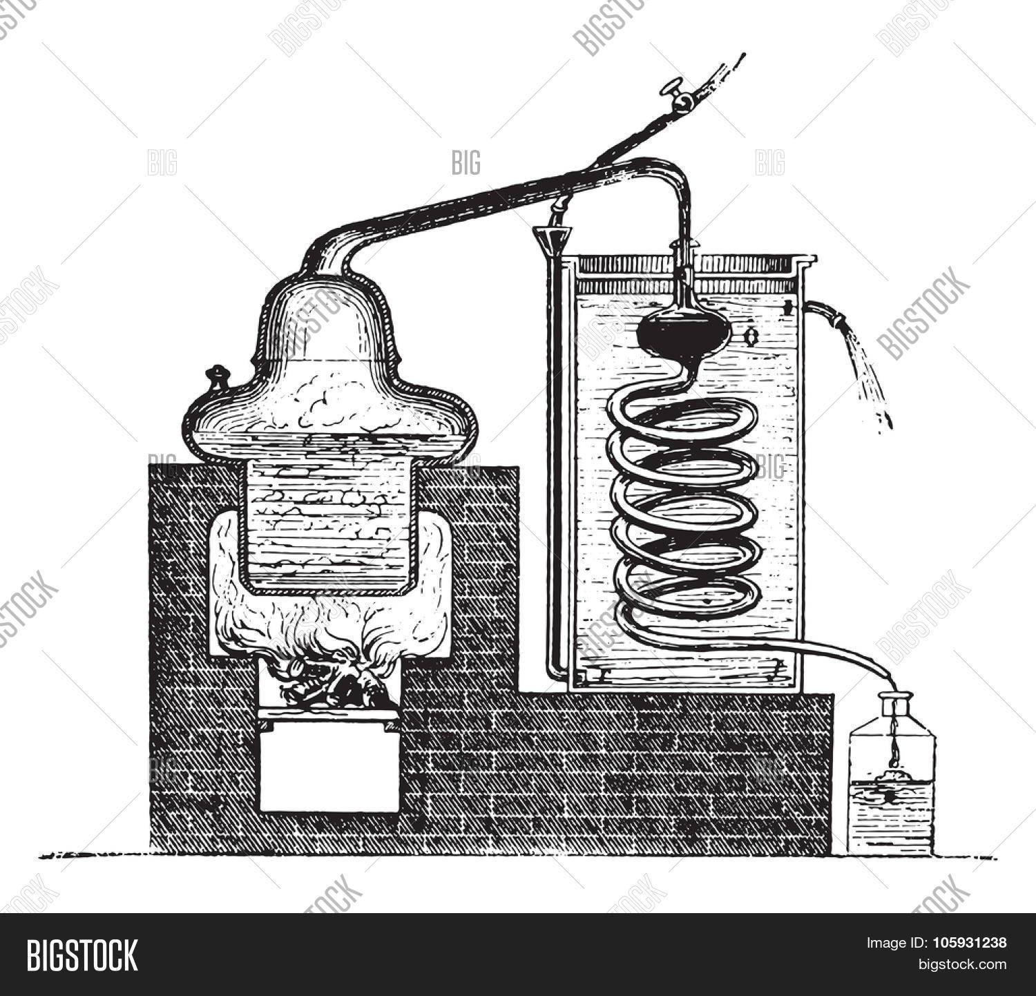 Distilling Apparatus Vector Photo Free Trial Bigstock Distillation Diagram Vintage Engraved Illustration