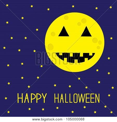 Starry Sky, Moon With Pumpkin Eyes And Mouth. Halloween Card. Flat Design