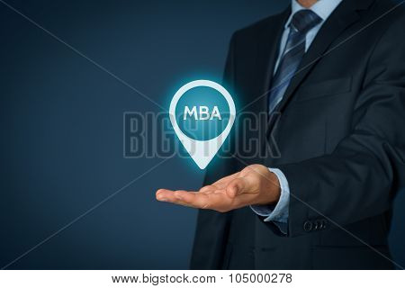MBA education concept. Businessman offer mba education. poster
