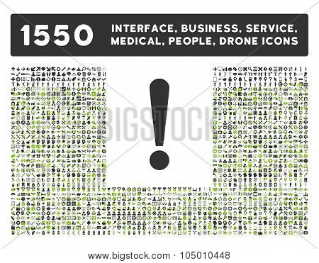 Exclamation Sign icon and other web interface business tools people medical service and awards glyph symbols. Style is bicolor flat symbols eco green and gray colors rounded angles white background. poster