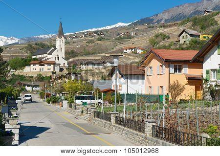 View to the street of Brig (Brig-Glis), Switzerland.