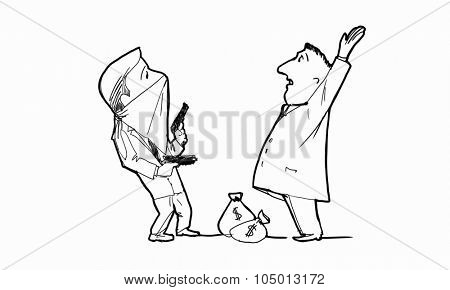 Caricature funny image of robbery concept on white background