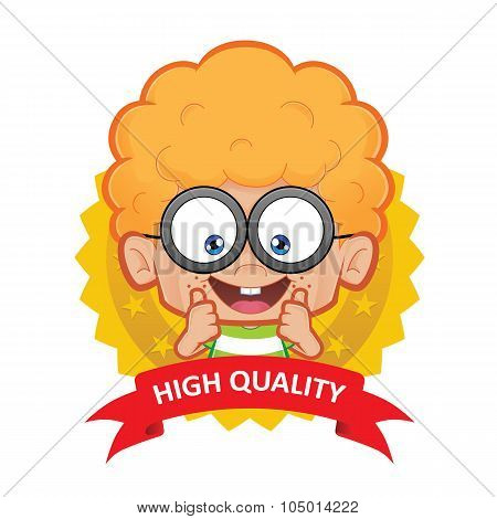 Clipart picture of a nerd boy cartoon character with guarantee icon poster