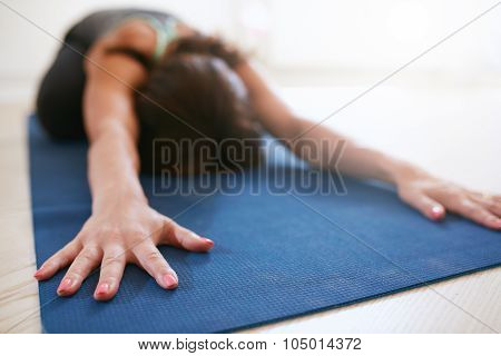 Fitness Woman Doing Balasana Yoga