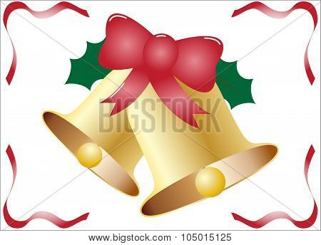 Christmas Bells With Holly And Ribbons