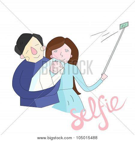 selfie family photo illustration vector color