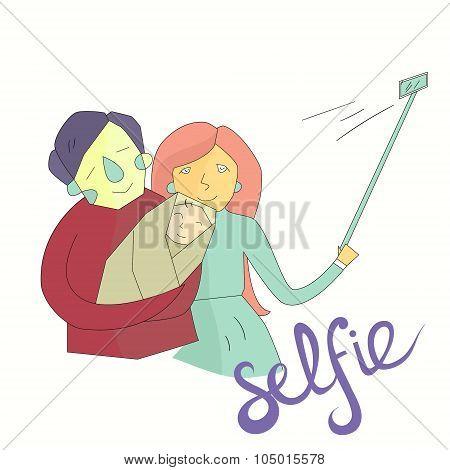 selfie family photo illustration vector