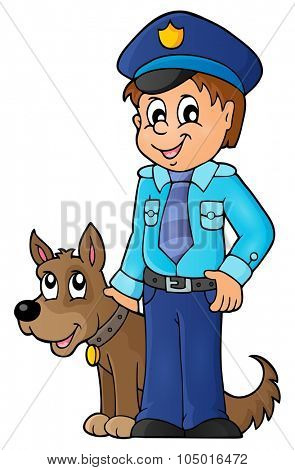Policeman with guard dog image 1 - eps10 vector illustration.