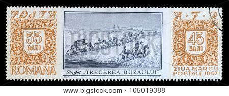 ROMANIA - CIRCA 1967: a stamp printed in Romania shows Crossing of Buzau River