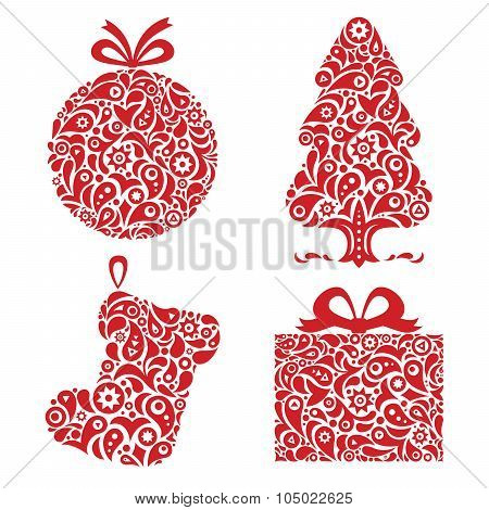 Red Christmas ornamental symbols