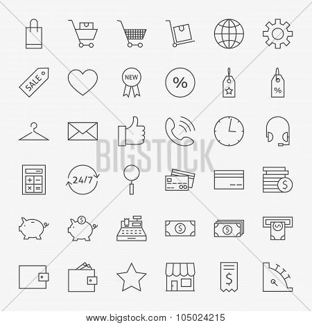 Line Online Shopping And Commerce Icons Big Set