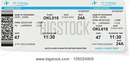 Pattern of airline boarding pass ticket with QR2 code. Concept of travel, journey or business. Isolated on white. Vector illustration poster