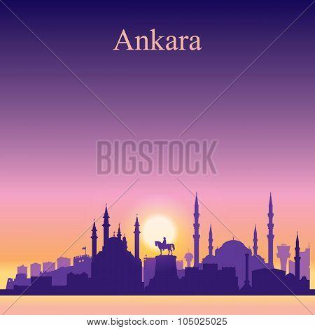 Ankara City Skyline Silhouette On Sunset Background