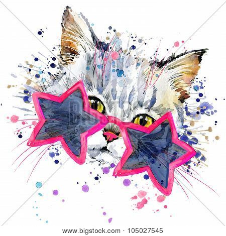 Funny Cat  T-shirt graphics,  cat illustration with splash watercolor textured background