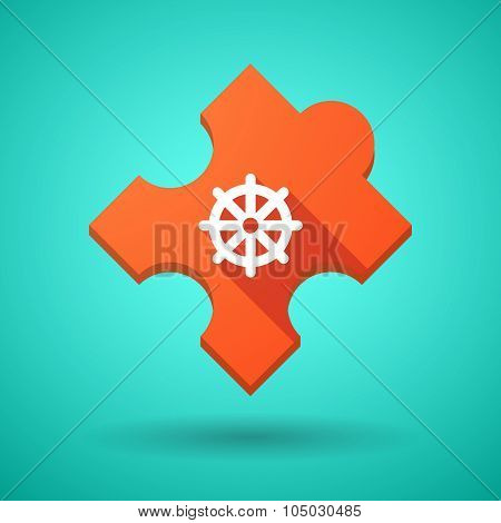 Long Shadow Puzzle Icon With A Dharma Chakra Sign