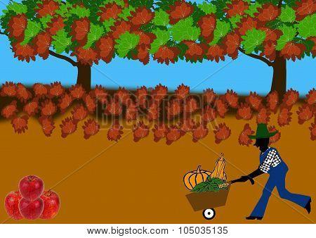 Harvest Landscape With Farmer Pushing Barrow