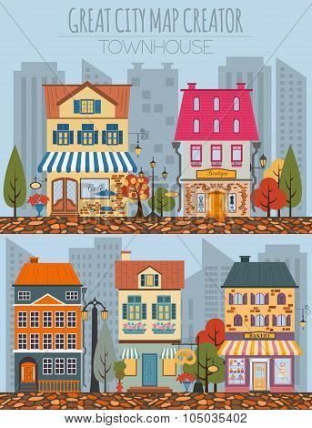 Great city map creator.Seamless pattern map and  Houses, infrastructure, industrial, transport