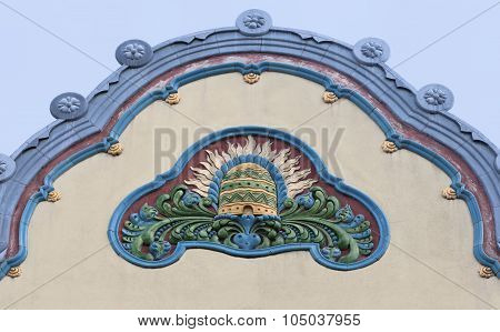 Architecture detail in art nouveau style, Subotica, Serbia poster